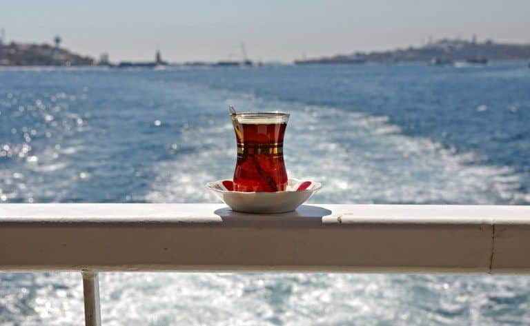 A cop of tea on the ferry in Istanbul