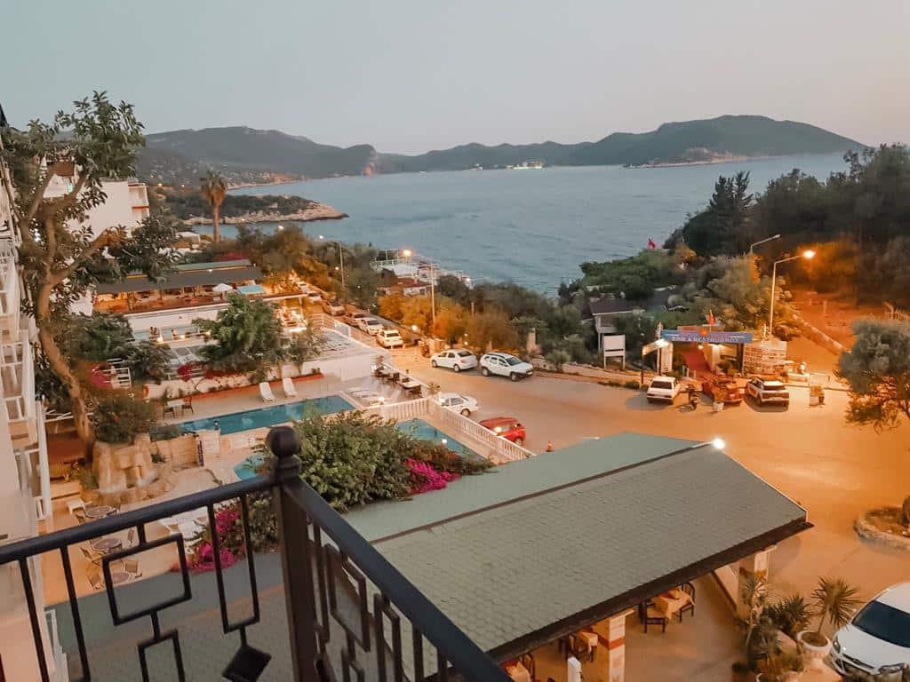 LALE hotel view in kas, the sea and the mountains